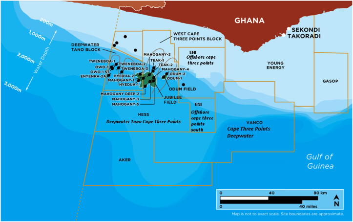 Map showing locations of the following blocks; Deepwater Tano Block, West Cape Three Points Block, Offshore Cape Three Points Block, Offshore Cape Three .