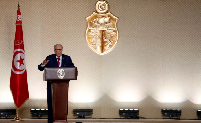 Tunisian President Beji Caid Essebsi delivers a speech, in Tunis, Tunisia May 10, 2017. Photo - Reuters