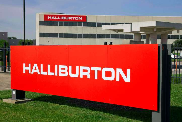 File photo of the company logo of Halliburton oilfield services corporate offices in Houston